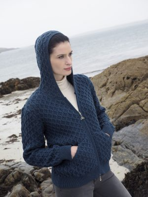 Aran Blue Honeycomb Hooded Cardigan