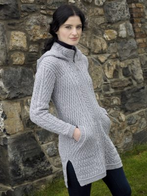 Aran Crafts Ribbed Soft Grey Coat