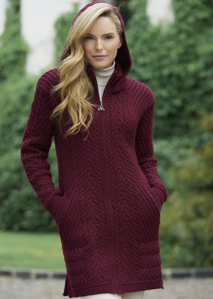 Aran Crafts Ribbed Wine Coat