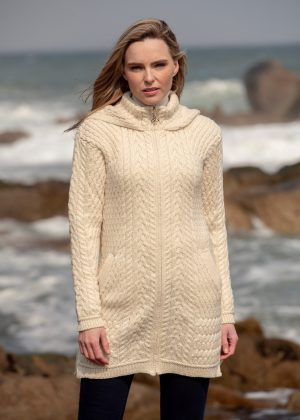 Aran Crafts Ribbed Cardigan Coat hd4826