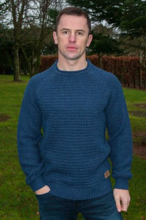 Blue Aran Roll Neck Sweater Kenmare