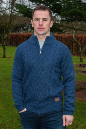 Men's Blue Aran 1/2 Zip Sweater