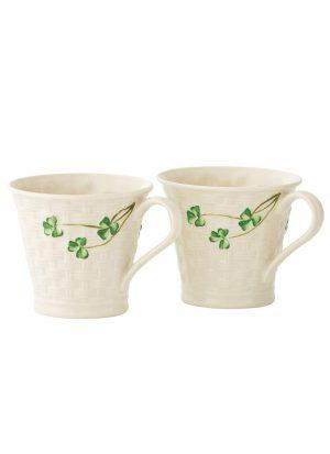 Belleek Shamrock Two Mini Vases