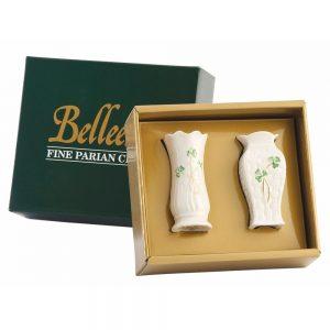 Belleek Shamrock Two Mini Vases 1788