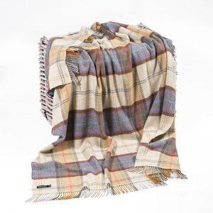 John Hanly Merino Cashmere Check Blanket