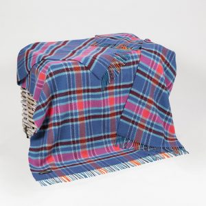 John Hanly Merino Cashmere Blue Pink Blanket