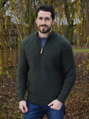 Aran Men's Army Green 1/2 Zip Sweater
