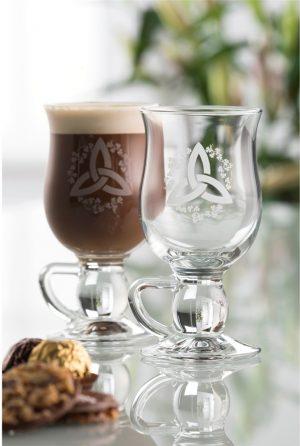 Galway Crystal Trinity Knot Latte Mugs Pair