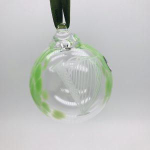 Irish Glass Christmas Harp Bauble