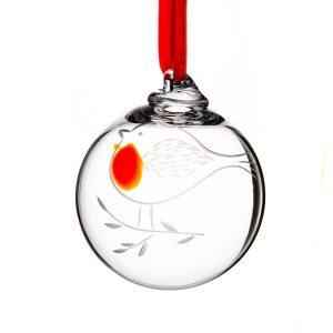 Irish Glass Robin Christmas Bauble