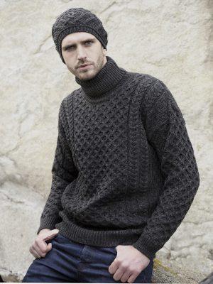 Charcoal Merino Wool Roll Neck Aran Sweater