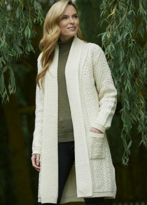 Aran Crafts Long Knitted Natural Coat