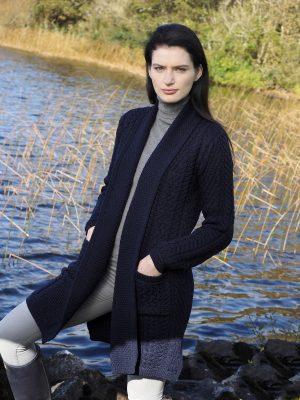 Aran Crafts Long Knitted Navy Coat