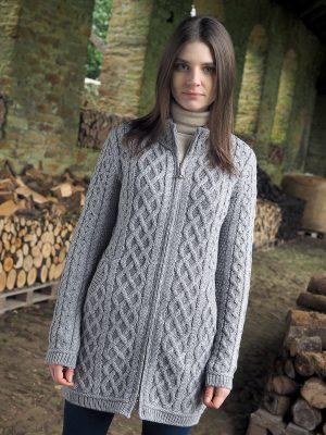 Aran Crafts Cable Knit Grey Cardigan