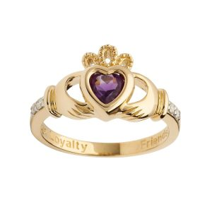 14k Gold February Birthstone Claddagh Ring