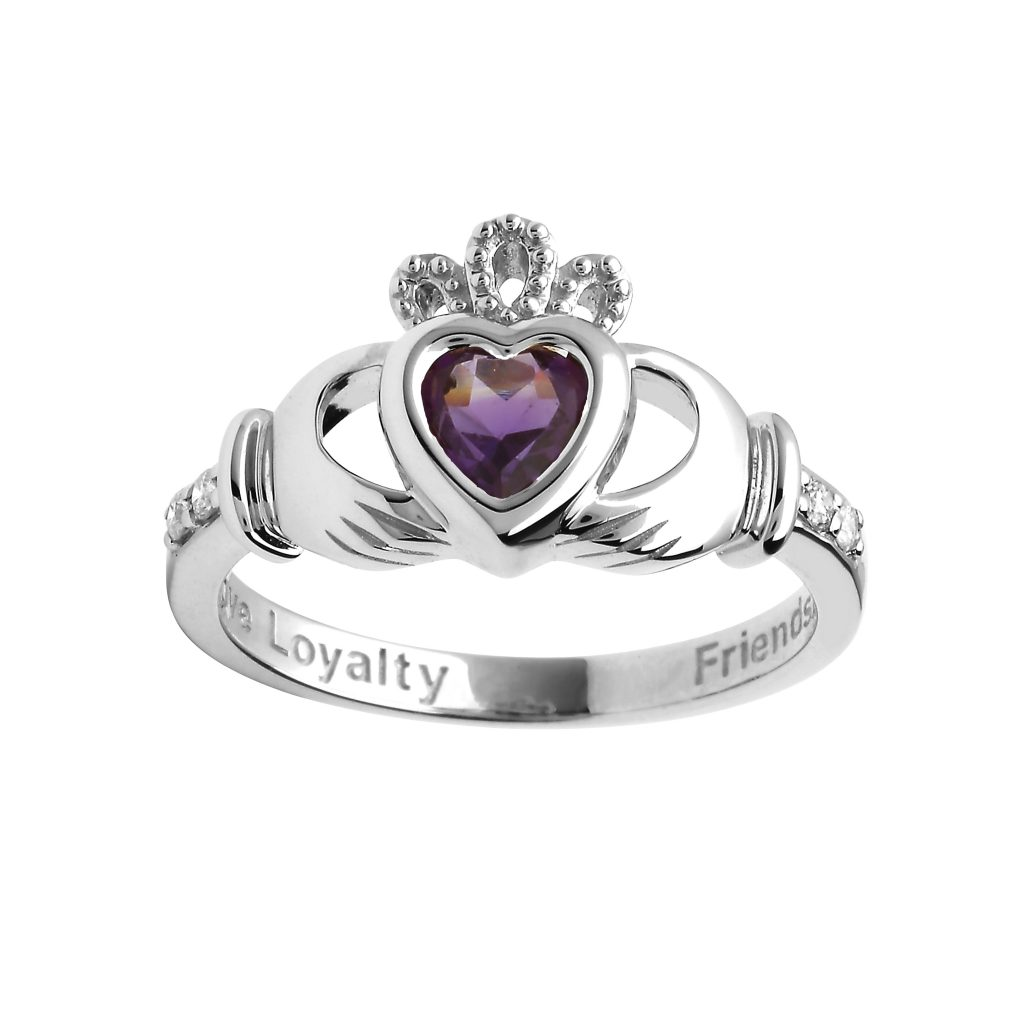 Shanore White Gold February Birthstone Claddagh Ring