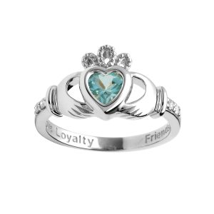 Aquamarine White Gold Birthstone Claddagh Ring