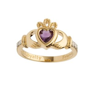 Gold June Birthstone Claddagh Ring