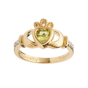 Gold August Peridot Birthstone Claddagh Ring