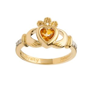 Gold November Birthstone Claddagh Ring