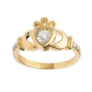 Gold December Birthstone Claddagh Ring
