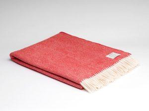 McNuttRed And Cream Herringbone Blanket