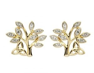 Shanore 14K Diamond Tree Of Life Earrings