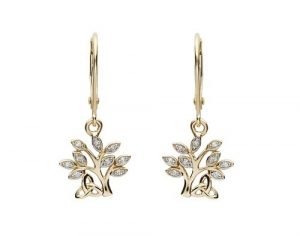 Shanore 14K Diamond Drop Tree of Life Earrings