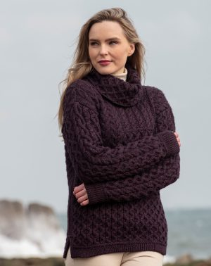 Aran Super Soft Cowl Neck Plum Sweater