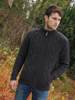 Aran Crafts Mens Wool Charcoal Full Zip Sweater