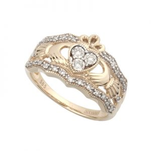 Solvar 14K Diamond Claddagh Ring S21023