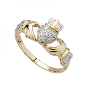 Solvar 14k Micro Diamond Claddagh Ring s2768