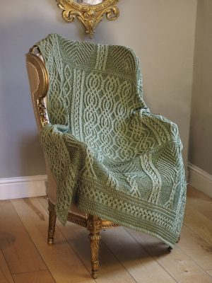 Aran Crafts Green Fairy Tree Merino Throw