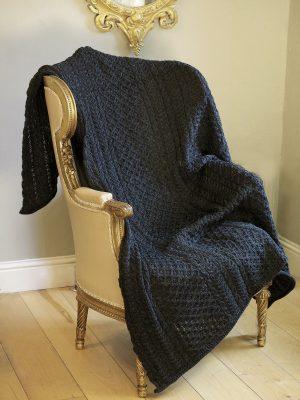 Aran Crafts Charcoal Honeycomb Wool Throw