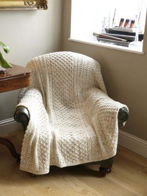 Aran Crafts Oatmeal Honeycomb Wool Throw