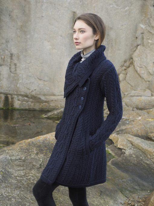 Aran Crafts Chunky Collar Navy Coat x4416