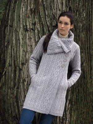 Aran Crafts Chunky Collar Soft Grey Coat