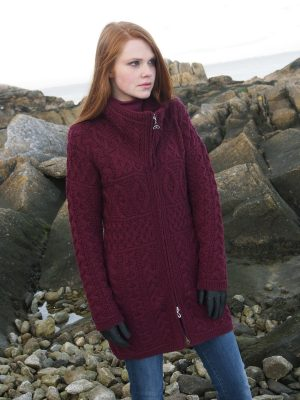 Aran Crafts Wine Double Collar Sweater Coat x4263