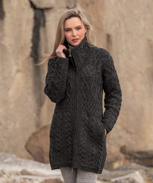 Aran Crafts Charcoal Double Collar Sweater Coat