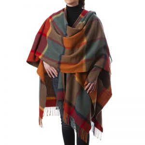 John Hanly Color Block Lambswool Liz Cape