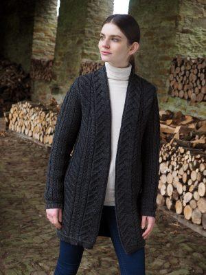 x4693 Aran Super Soft Charcoal Merino Coat