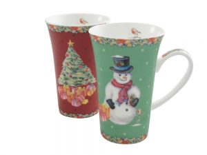Aynsley Classic Christmas Latte Mugs Pair
