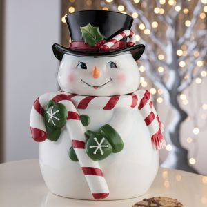 Aynsley Candy Cane Snowman Cookie Jar