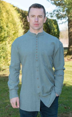Petrol Green Traditional Grandfather Shirt