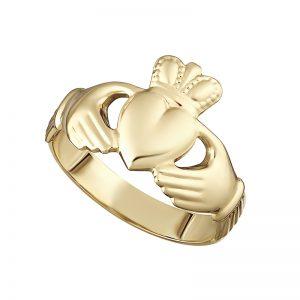 Solvar 10K Hallow Back Ladies Claddagh Ring S2989