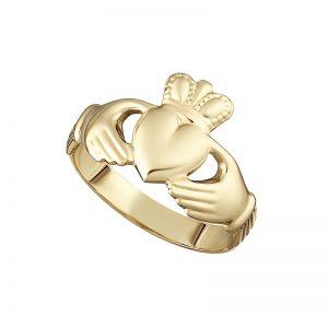Solvar 10K Hallow Back Maids Claddagh Ring S2988