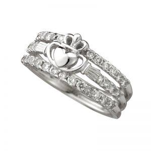 Solvar 14K White Gold Dia Claddagh Dress Ring S2744