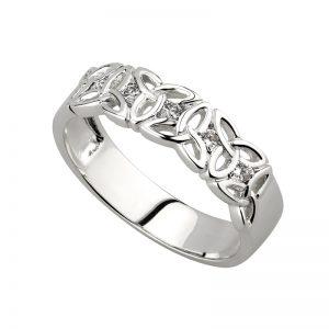 Solvar 14K White Gold Diamond Trinity Band S2720