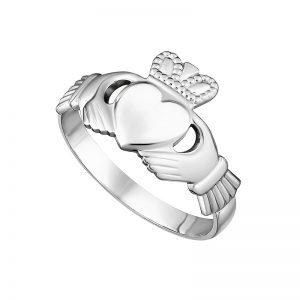 Solvar 14K White Gold Maids Claddagh Ring S2549