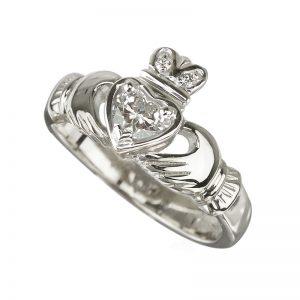 Solvar 18K White Diamond Claddagh Engagement Ring S2503